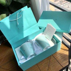 Simplicity Designer Pareja Copa y taza Caja de regalo Caja de regalo Cerámica Taza de lujo Patrón de Lujos Drinkware Amantes Regalo Regalo de boda
