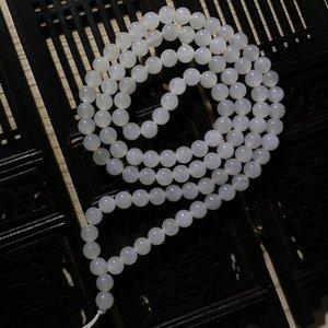 Natural white jade handmade pendant necklace rope genuine jadeite jade rope chain jade jewelry 108beads wholesale lots bulk