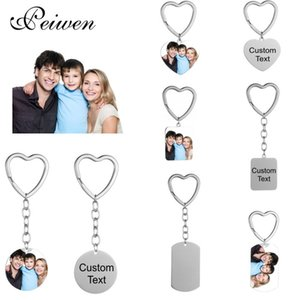 Stainless Steel Custom Po Name Date Keychain Personalized Diy Engrave Round Id Dog Tag Heart Ring Charm Pendant Key Chain