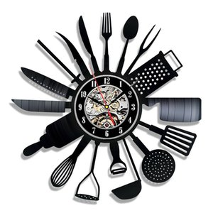 Cutlery Vinyl Record Wall Clock Modern Design Spoon Fork Decorative Kitchen Vintage Vinyl Clock Wall Watch Home Decor Silent-01