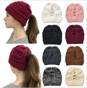 Winter Knitted Designer Beanie Hat Criss Cross Crochet Knit Women Girls Ponytail Caps Wool Skull Caps Sport Outdoor Ski Headwear F120505