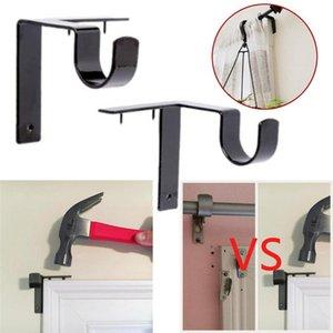 Shower Curtains Single Hang Curtain Rod Holders Bracket Into Window Frame Handles Holder Metal Durable