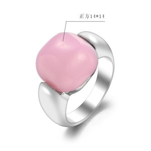 Rings Wind lovers girl square pink stone girl's hand jewelry ring