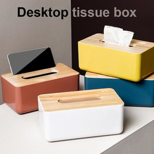 Tissue Boxes & Napkins 1pcs Box Holder Household Wooden Cover Paper Container Napkin Storage Case Phone Bracket Slot Design For Living Room