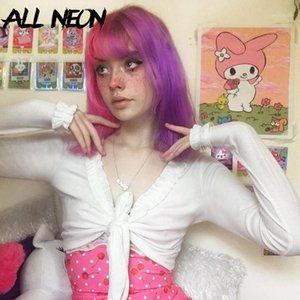 Allneon Sweet V-образным вырезом кружев рубежа Ribbed обрезанные вершины солидные бабочки рукава повязка белые футболки винтажные E-Girl Outfits1