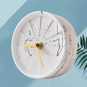 1pc Cement Clock Simple Round Turbine Design Bedside Table For Bedroom Homestay Battery (Marbling) Desk & Clocks