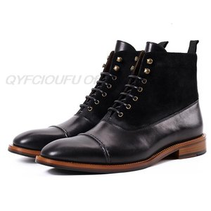 Dress Shoes QYFCIOUFU Men Martins Boots Genuine Leather Winter Casual Boot Ankle Male Lace-up High-top Vintage WQJT