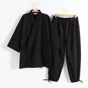 Kimono pyjamas japonais 100% coton 2pcs Set Yukata Samurai Hommes Ninjya Monk Porter Chef Jardinage Vêtements de travail Japon Style Japon Jinbei Vêtements ethnies