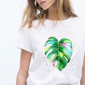T Shirt Women Shirts Comfortable Aesthetic Leaf Print Tee Pretty Retro Fun Hip Hop Graphic