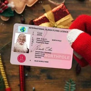 Santa Claus Flight Cards Sleigh Riding Licence Tree Ornament Christmas Decoration Old Man Driver License Entertainment Props OWE9778