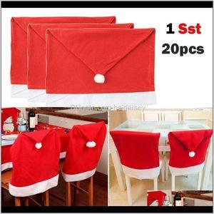 20Pcs Santa Hat Covers Christmas Decor Dinner Chair Xmas Cap Sets Wholesale 4L23 Kerfw 69Ks7
