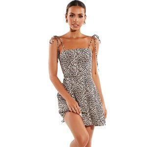 Print Strap Summer Lace Sexy Leopard A Word Skirt Women's Fashion Nightclub Dress