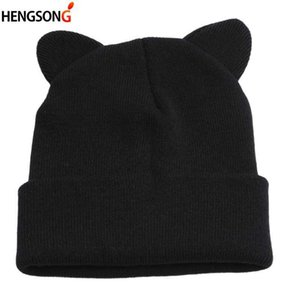 Lovely Warm Winter Casual Skullies Beanies Hat Hot Fashion Design Wool Cap Hat Gray White Cute Cat Ears Knitted Hat Y0911