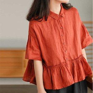 Camisas informales de lino para mujer, blusas con volantes y cuello vuelto, camisa holgada Vintage manga corta verano NINI