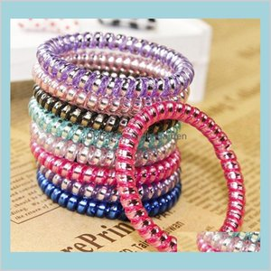 Ring Telephone Wire Cord Punk Coil Elastic Band Ties Rope Girls Headwear Accessories Scrunchies W6Xfx Bands Gymsr