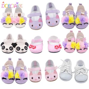 7cm Cute 15 Styles Leather Cartoon Canvas 43cm New Bron Baby Flower Shoes FIt 18 Inches American Girl Doll Toy