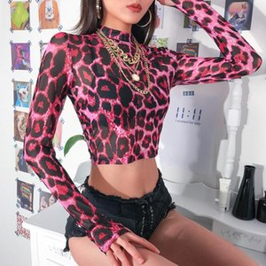 Women Sexy Pink Leopard T-shirt Female Long Sleeve Mesh Tshirt Spring Autumn Tight Bottom Coat Crop Summer Top Slim Fit Tee Women's