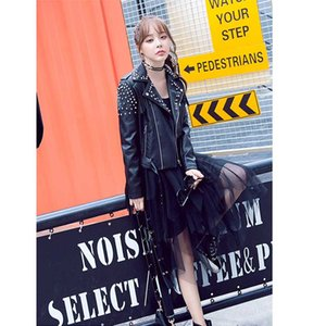 Leather Biker Coat Gothic Jacket Women Pu Jackets Tassle Fashion Rivet Coats