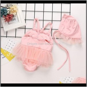Onepieces Infant Baby Kids Girls Angle Wing Lace Suspender Rompers Onepiece Swimsuit With Cap Girl Childrens Swimwear 15052 Hp95F B79Z2