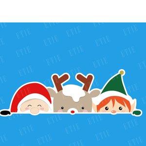 2021 Christmas Cute Cartoon Window Sticker Fashion Children's Snowman Santa Elk Car Glass Decoration Paster 20*15cm Xams Fridge Stickers Tags G97T9U2