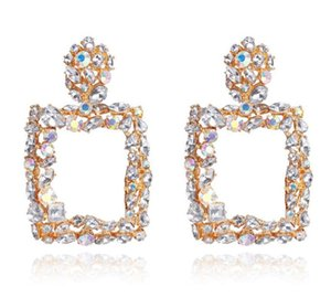 Crystal Stone Big Square Drop Earrings Gold Silver Color Round Square Metal Dangle Earrings For Women Gift Jewelry 102 M2