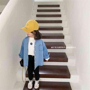 Spring unisex fashion denim shirts boys and girls soft cotton long sleeve shirt children style Tops 210708