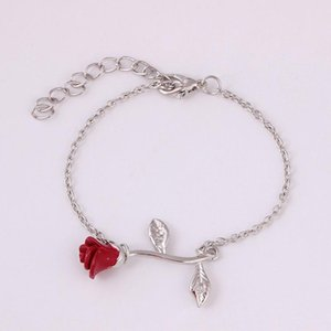 Fashion Red Rose Metal Chain Pendant Bracelet Charming Women's Wedding 3 Color Romantic Valentine's Day Jewelry Gift Link,