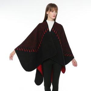 Women's style simple tassel pattern jacquard split ends versatile fashion imitation cashmere shawl 6XQ1