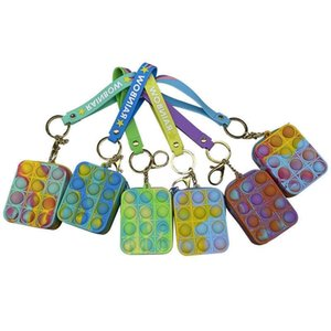 Halloween Tie Dye Fidget Toys Key Chain Mini Wallet Silicone Push Poppers Bubbles Press Decompression Coin Case Toy Pandents Key Ring Headphone Bags G989JWC