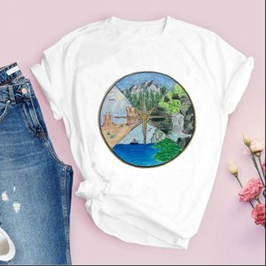Women Graphic Short Sleeve Womens T Shirt Cartoon Vacation Cute Fashion Printed Tops Lady Tees Clothing Female