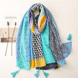 Scarves 2021 Est Women's Cotton Linen Scarf Navy Printed Flora Hijab Blue Female Spring Headscarf Bandana