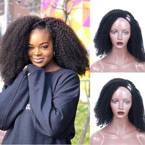 Боковая часть AFRO Kinky Кудрявые человеческие волосы U формируют парик блестящий полный станок из перуанских париков