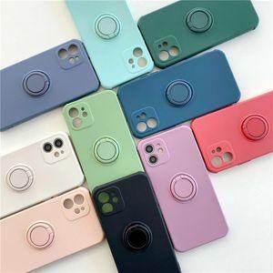 Cajas de teléfono magnético de silicona ultrafino para iPhone 12 11 Pro Se XS MAX XR X 8 7 6 PUERTA DE SOPORTE DE ANILLO