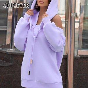 CHICEVER Sudadera asimétrica para mujer Cuello con capucha de manga larga de la manga larga de la manga templada hacia afuera de encaje hacia arriba con la ropa de talla grande hembra 20211