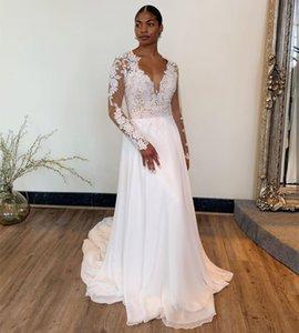 Bohemian Wedding Dress Long Sleeve 2021 Sexy V-Neck Bridal Gowns Dresses Chiffon Court Train Robe De Mariee Beach Vintage Cheap
