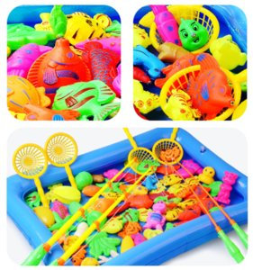 TJ Children Boy girl fishing toy set suit magnetic Sand Play water baby Sports toys fish square gift for kids first education