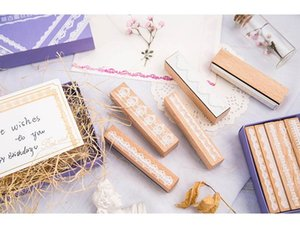Wooden boxed long exquisite lace stamper decoration set hand-made tool stamper 10 pieces set gift box pacakge