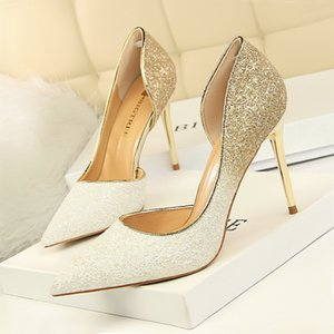 Bigtree Aşırı Kadın Bling Düğün Ayakkabı Pompalar Seksi Yüksek Topuklu Stiletto Degrade Kadınlar Topuk Ayakkabı Moda Parti Pompaları Ayakkabı