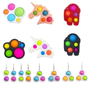 Novelty Rainbow Pop It Decompression Fidget Toy Sensory Push Bubble Autism Special Needs Anxiety Stress Reliever for Office Workers and kids
