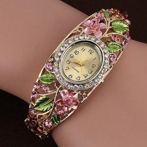 Women Watches Gold Plated Crystal Flower Bangle Bracelet Ladies Watch Quartz Wristwatch Bayan Kol Saati Reloj Mujer
