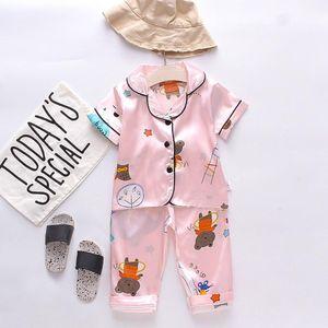 Ensembles de vêtements 2pcs Enfants Enfants Enfants Enfants Baby Garçons Filles Dessin animé Animal Tops + Pantalons Pajamas Vêtements de nuit Tenue Vêtements d'été