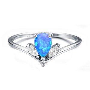 Luckyshine Mother Gift Drop White Crown Fire Opal Crystal Gems Ring 925 Sterling Silver Plated Wedding Party Rings For Women 3523 Q2