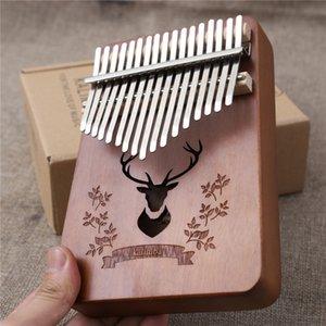 Kalimba 17 Keys Thumb Piano Wood Mahogany Body Musical Instruments With Leather Book