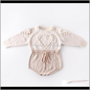 Rompers Jumpsuits&Rompers Baby, Kids & Maternity Drop Delivery 2021 Knitted Clothes Heart Girl Romper Pompom Infant Girls Sweater Designer Bo