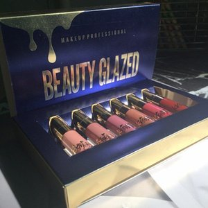 High Quality 6pcs Set Liquid Lipstick Lip gloss BEAUTY GLAZED Professional Makeup Matte LipKit Long Lasting Cosmetics