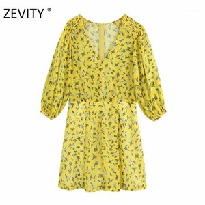 ZEVITY New women elegant v neck floral print playsuits ladies elastic pleats lantern sleeve combination shorts chic rompers P9101