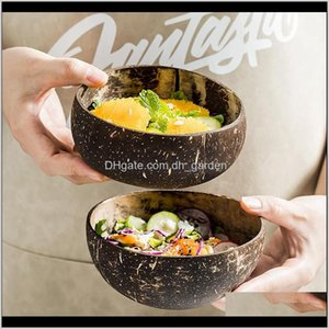 Bowls Dinnerware Kitchen Dining Bar Home Garden Drop Delivery 2021 Natural Spoon Coconut Shell Fruit Salad Noodle Rice Ice Wooden Bowl Tablew