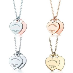 Classic 925 Sterling Silver Necklace, Double Heart Pendant women's fashion jewelry, original 1:1 high quality, return 210621