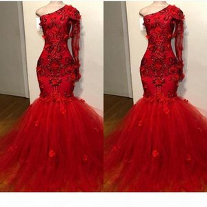 Red Long Sleeve Mermaid Sexy Prom Dresses Tulle Lace Ruffle One Shouler Zipper Up Court Train Evening Dresses Pagent Gowns