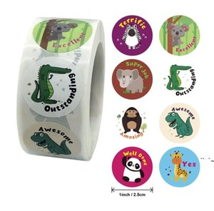 2.5cm Thank You Stickers Party Decoration Cute Animal Printing Seal Labels Gift Packaging Sticker Office Stationery Supplies OWF6073